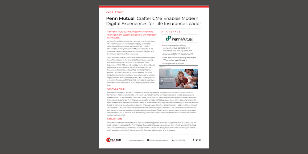 Penn Mutual: Crafter CMS Enables Modern Digital Experiences for Life Insurance Leader